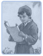 A boy reading his daily bible devotions.